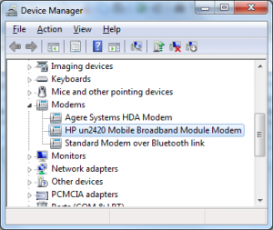 Laptop 3G modem in Device Manager